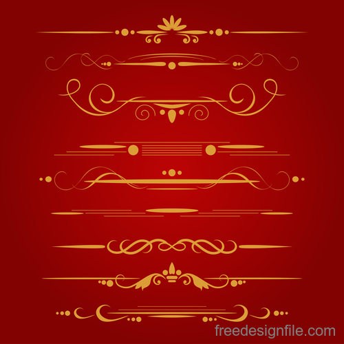 Golden borders decorative vector set 07