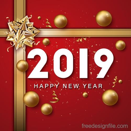 Golden bows with 2019 new year card vector