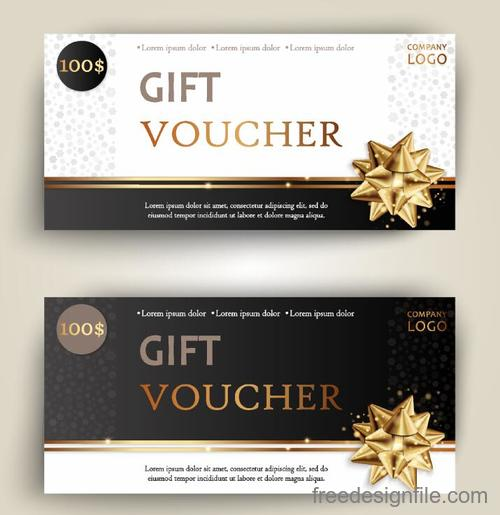 Golden bows with gift voucher template vector