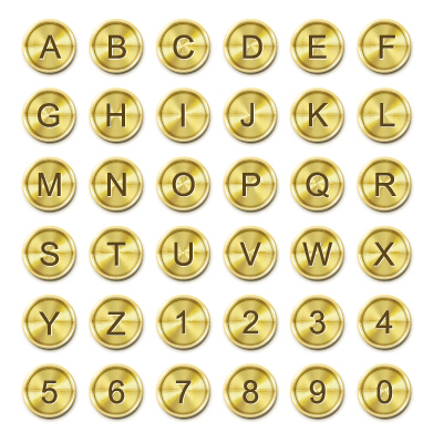 Golden button alphabet font vector