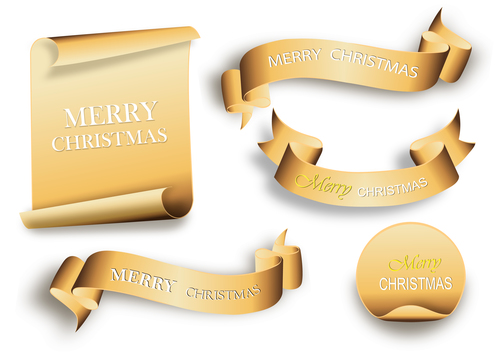 Golden christmas banner and ribbon with sticker vectors