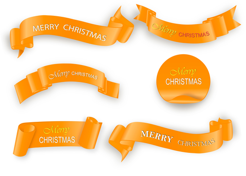 Golden christmas ribbon banner with sticker vector