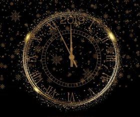 Golden clock with 2019 new year snowflake background vector