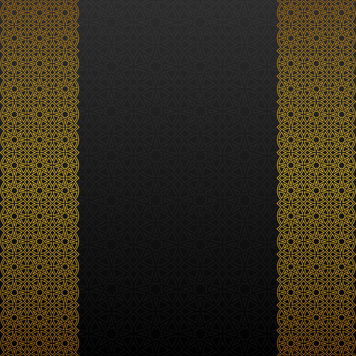 Golden decor pattern trasitional background vector 03
