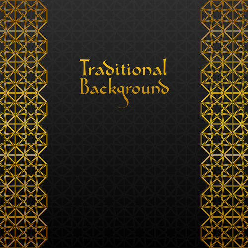 Golden decor pattern trasitional background vector 04
