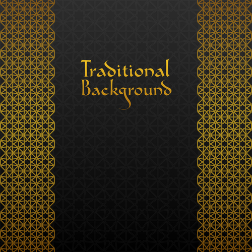 Golden decor pattern trasitional background vector 07