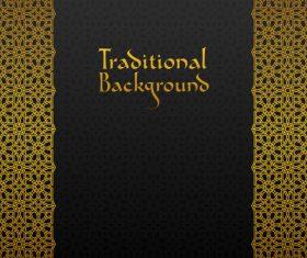 Golden decor pattern trasitional background vector 09