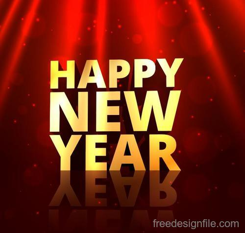 Golden happy new year with red background vector