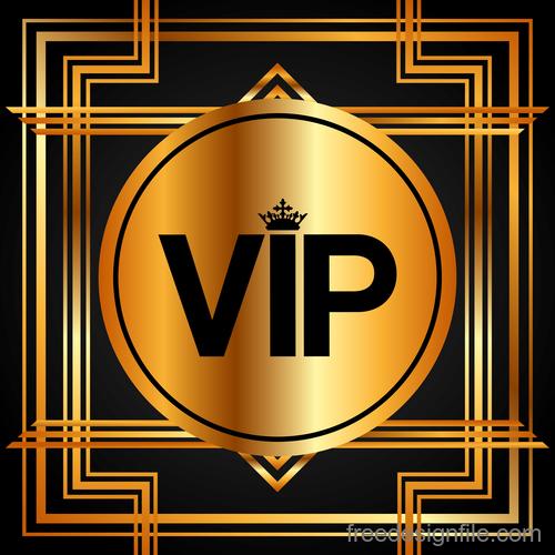 Golden luxury VIP badge vectors set 02