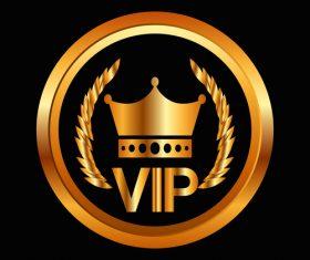 Golden luxury VIP badge vectors set 03