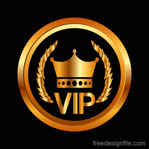 Golden luxury VIP badge vectors set 03