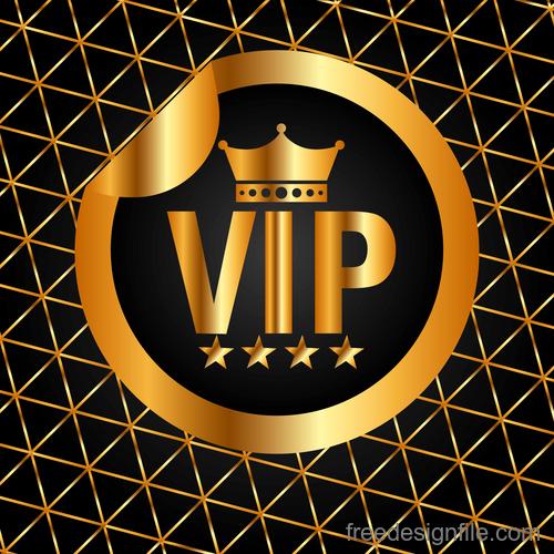 Golden luxury VIP badge vectors set 04