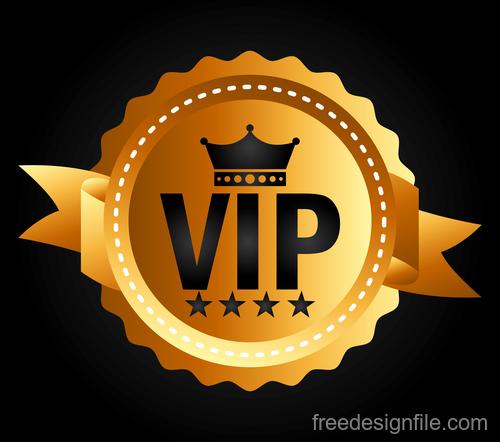 Golden luxury VIP badge vectors set 05