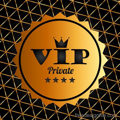 Golden luxury VIP badge vectors set 06