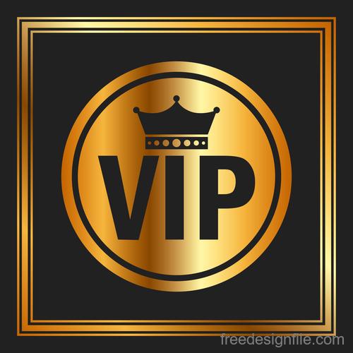 Golden luxury VIP badge vectors set 07