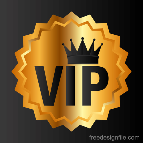 Golden luxury VIP badge vectors set 09