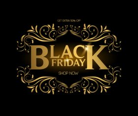 Golden luxury black friday labels vector 01