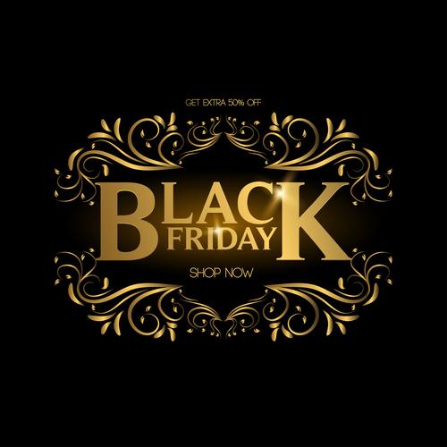 Golden luxury black friday labels vector 01