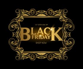 Golden luxury black friday labels vector 02