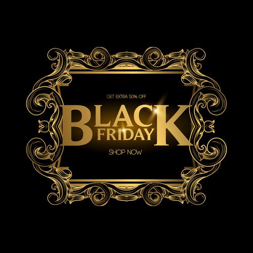 Golden luxury black friday labels vector 02
