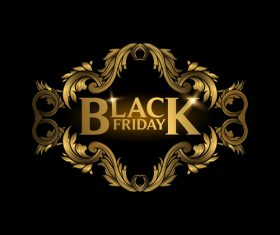 Golden luxury black friday labels vector 03