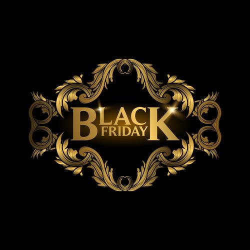 Golden luxury black friday labels vector 03