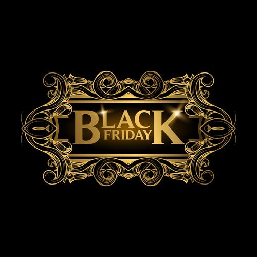 Golden luxury black friday labels vector 04