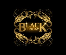 Golden luxury black friday labels vector 05