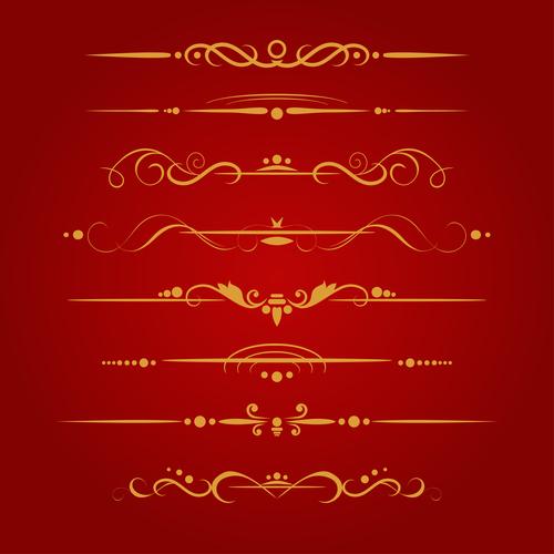 Golden ornament illustration vectors 02