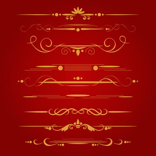 Golden ornament illustration vectors 03