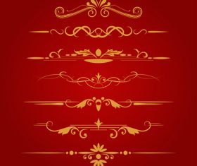 Golden ornament illustration vectors 04