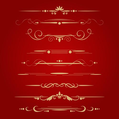 Golden ornament illustration vectors 05