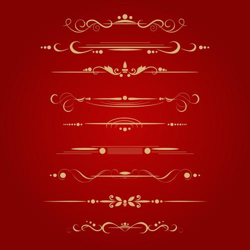 Golden ornament illustration vectors 06