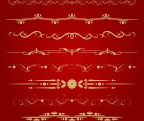 Golden ornament illustration vectors 07