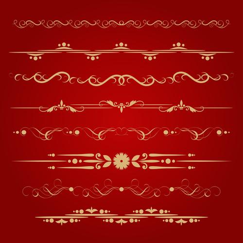 Golden ornament illustration vectors 07