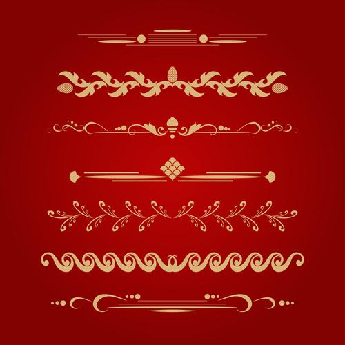 Golden ornament illustration vectors 09