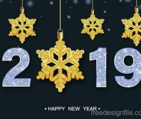 Golden snowflake decor with 2019 new year background vector