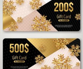 Golden snowflake with gift card template vector