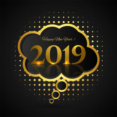 Golden speech bubble with 2019 new year vector