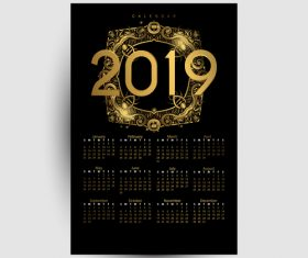 Golden with black 2019 calendar template vector 01