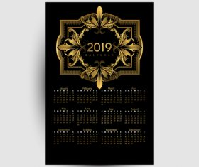 Golden with black 2019 calendar template vector 02