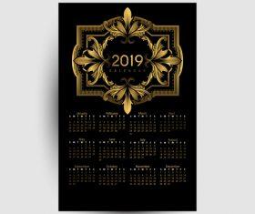 Golden with black 2019 calendar template vector 02
