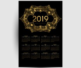 Golden with black 2019 calendar template vector 03