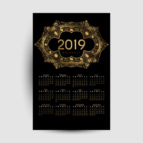 Golden with black 2019 calendar template vector 03