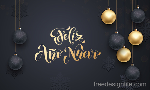 Golden with black christmas balls and xmas black background vector 03