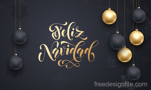 Golden with black christmas balls and xmas black background vector 04