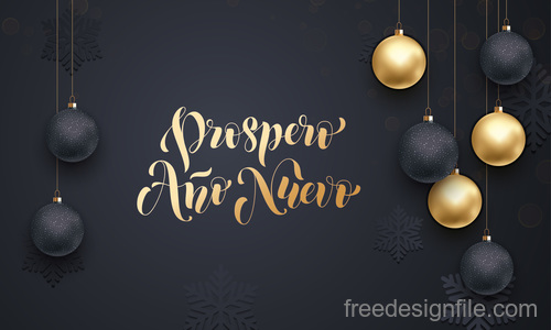 Golden with black christmas balls and xmas black background vector 05