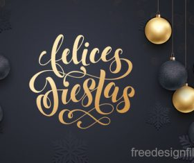 Golden with black christmas balls and xmas black background vector 06