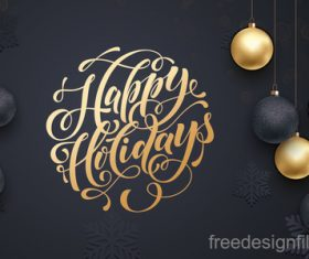 Golden with black christmas balls and xmas black background vector 07