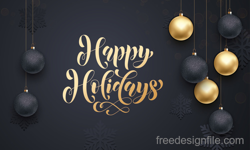 Golden with black christmas balls and xmas black background vector 08